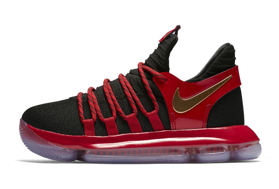ee8d1a46bd8 Nike KD 10. Color  Black Metallic Gold University Red-Bright Crimson  Release Date  November 10